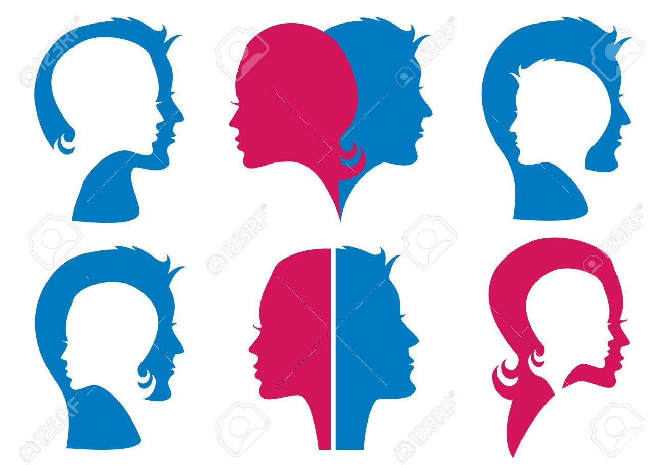 couples, man and woman face silhouettes Stock Vector - 14173038