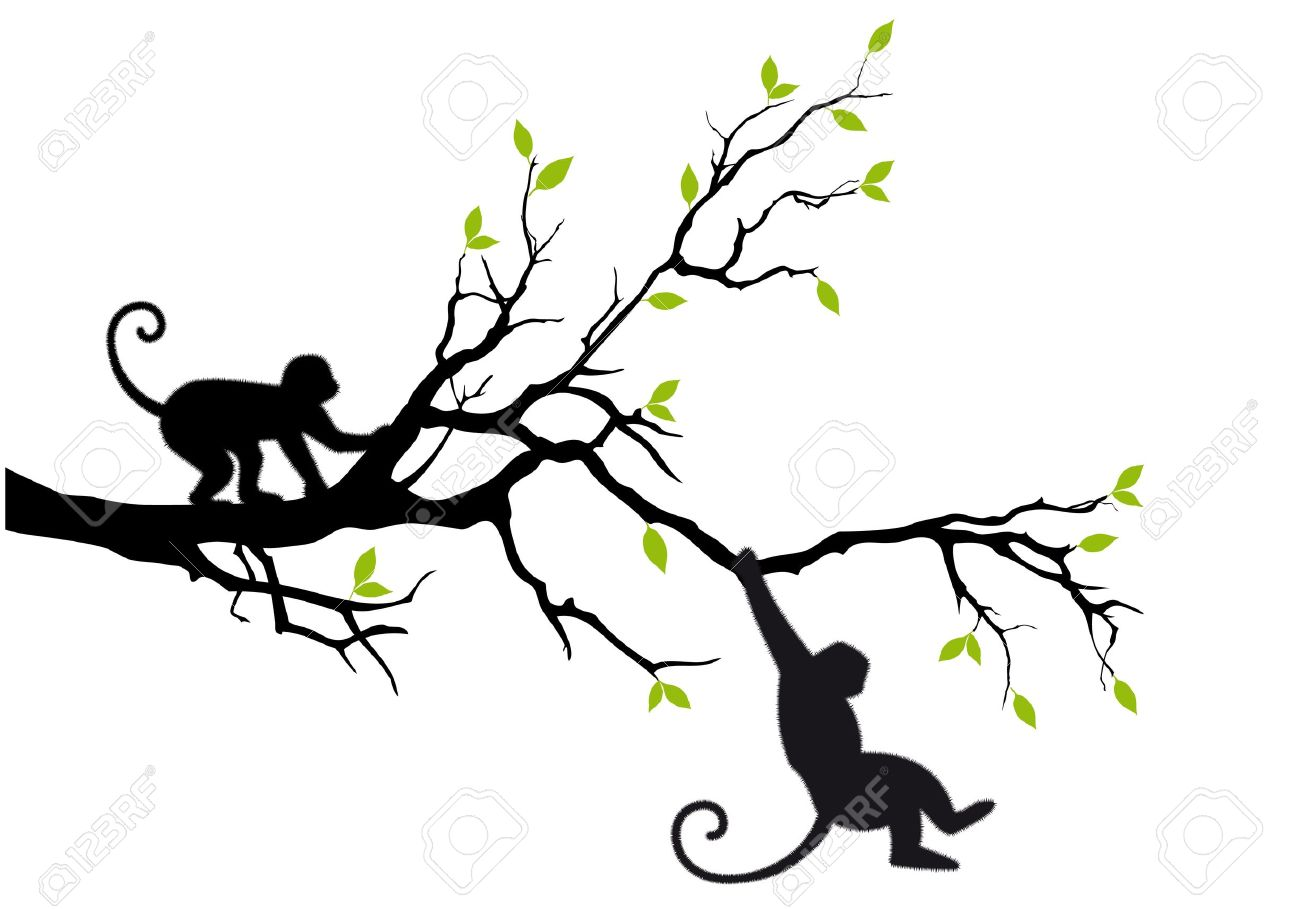 Monkey Clipart Vector Vector Monkey Hanging on