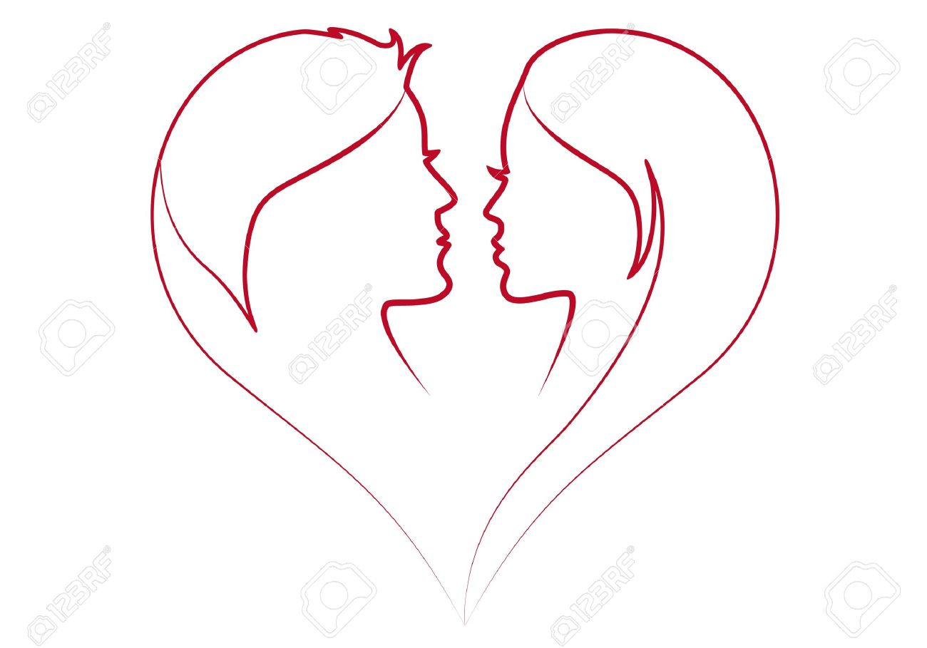 man and woman in red heart silhouette Stock Vector - 15067912