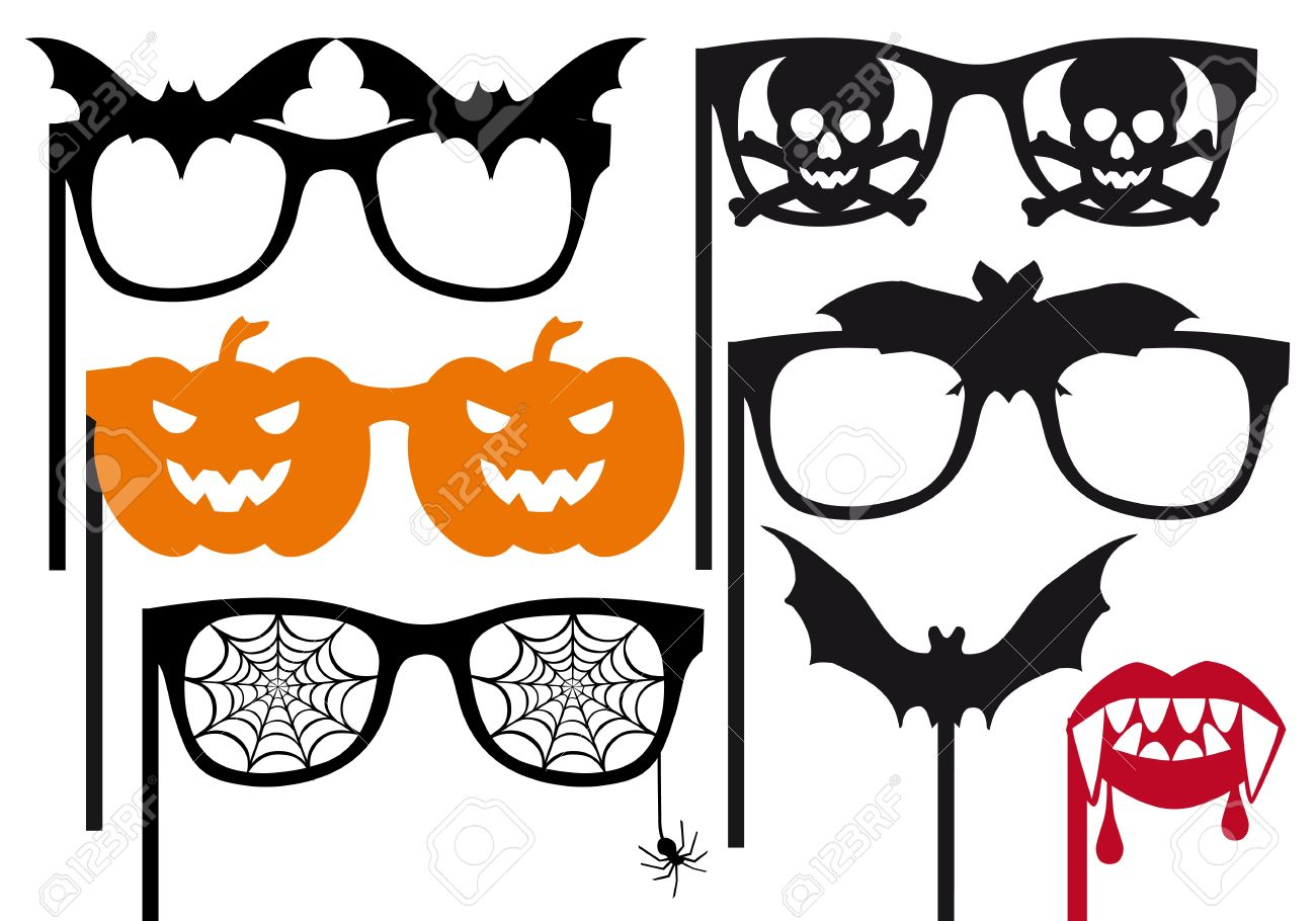 halloween photo booth props on a stick vector set stock vector 15303118 - Halloween Photography Props
