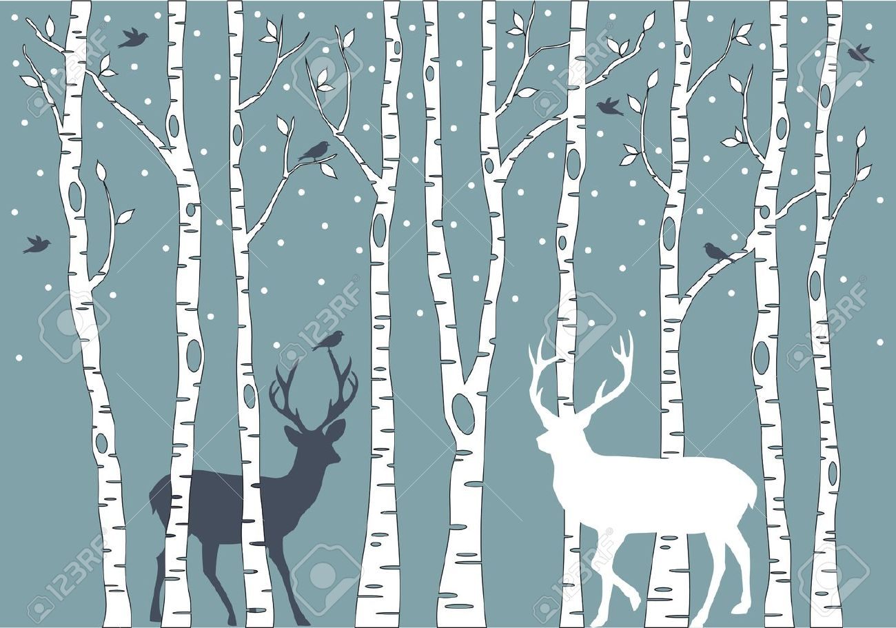 birch trees with birds and deer - 15519847