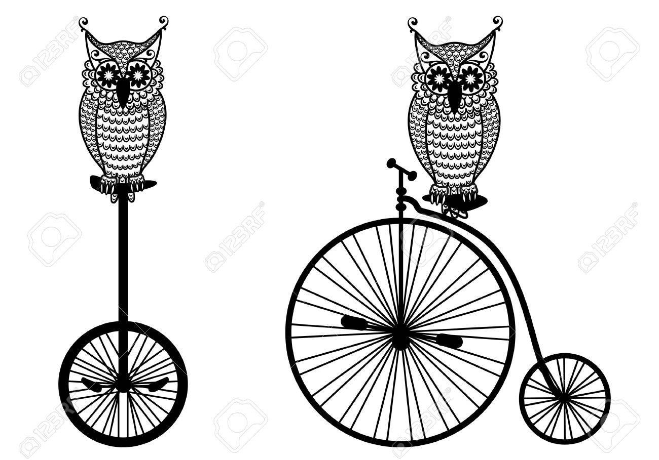 Búhos Con Bicicletas De época Ilustraciones Vectoriales, Clip Art ...