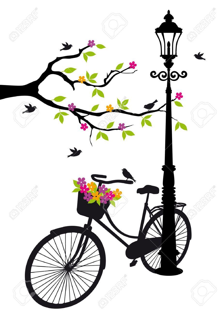 Bicicleta Antigua Con Lampara Flores Y Arboles Ilustraciones