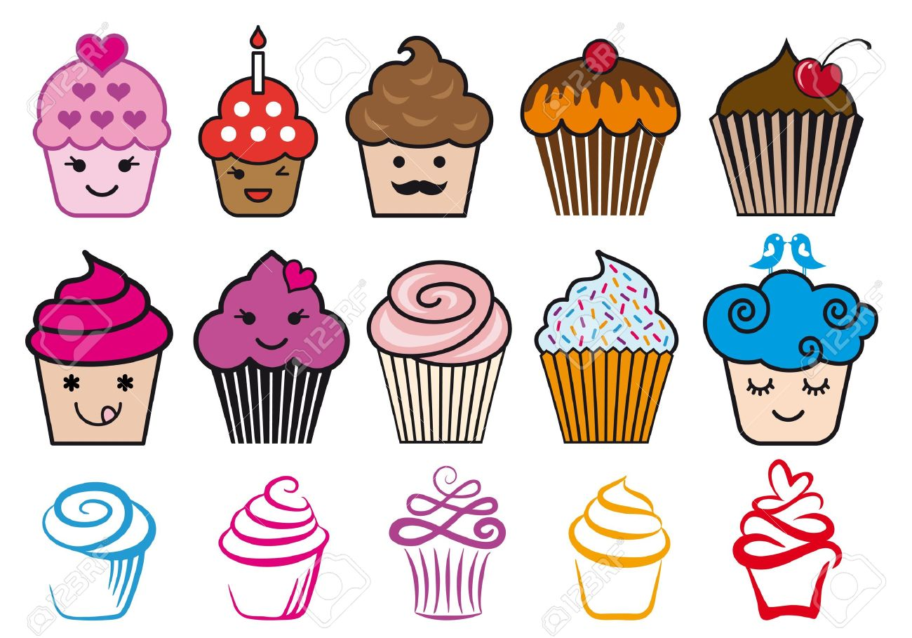 Cute cupcake designs with candle and heart,illustration set Stock Vector - 15656263