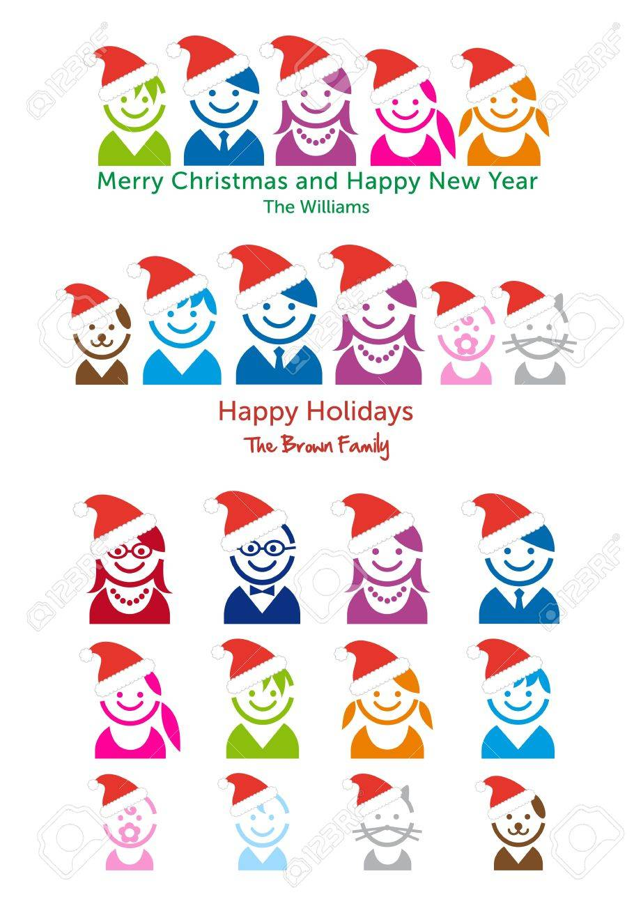 family christmas card template with avatar faces vector people