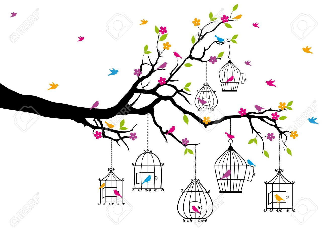 Open Birdcage Silhouette with birds and birdcages