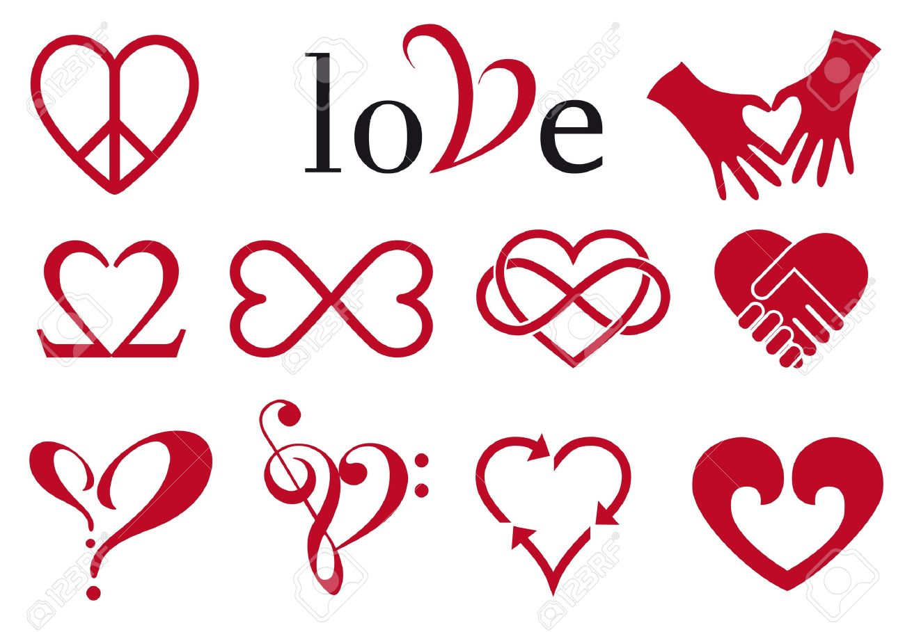 set of red heart designs, vector design elements royalty free cliparts,  vectors, and stock illustration. image 17315687.  123rf