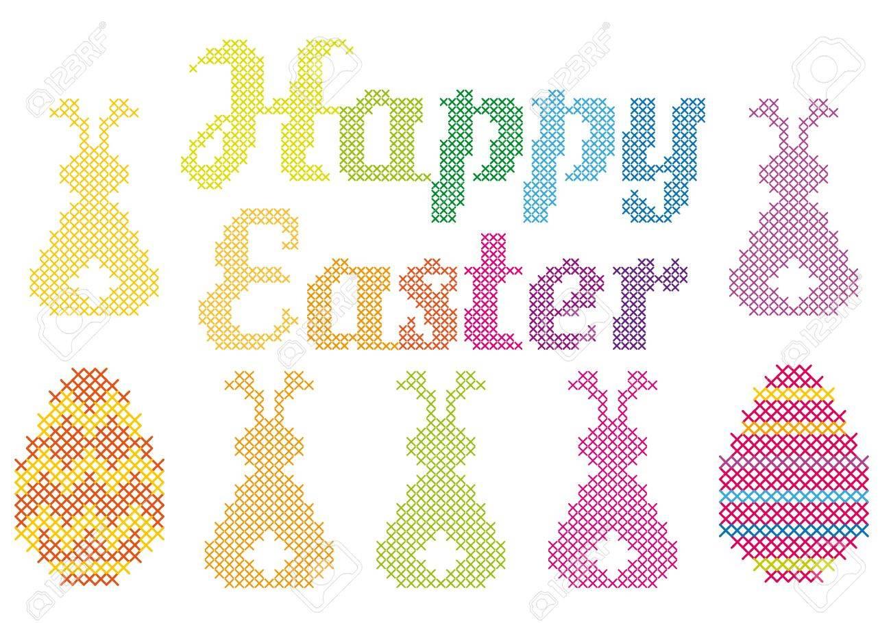Feliz Pascua Con La Cruz Patrón Cosido Bordado, Vector Ilustraciones ...