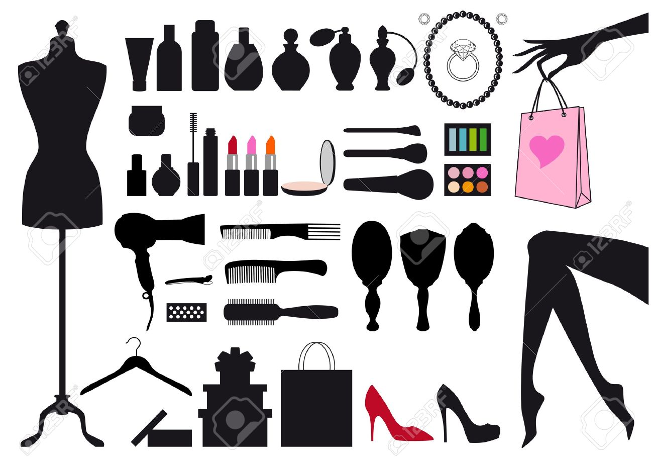 Fashion And Beauty Set Of Design Elements Royalty Free Cliparts