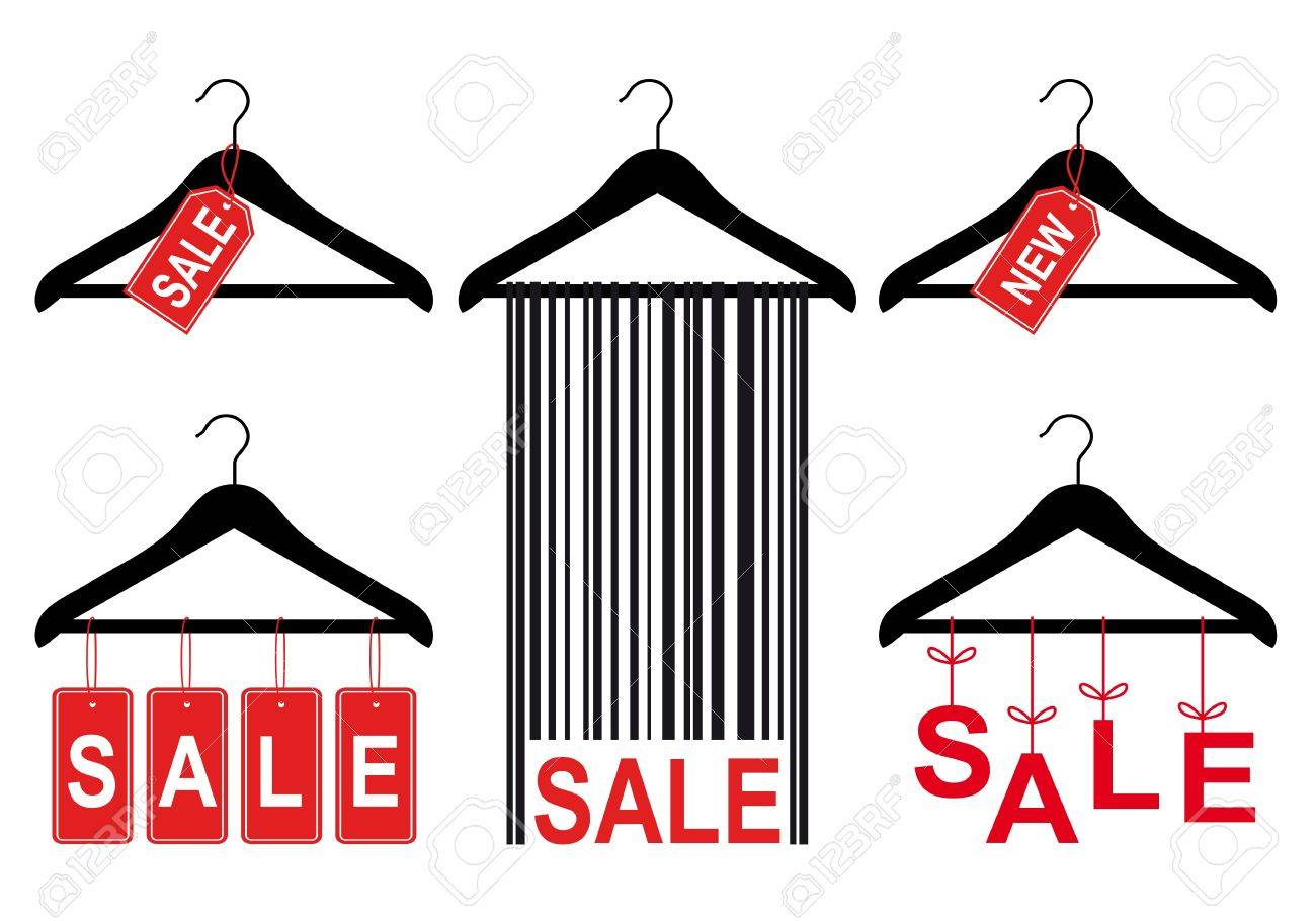 Set Of Clothes Hanger With Sale Tags, Vector Design Elements ...