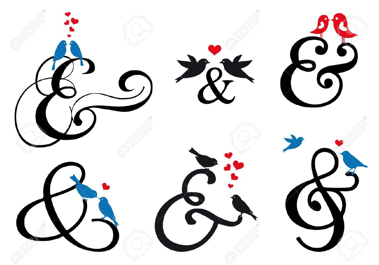 Ampersand sign with cute birds vector design elements royalty ampersand sign with cute birds vector design elements stock vector 20246089 buycottarizona Images