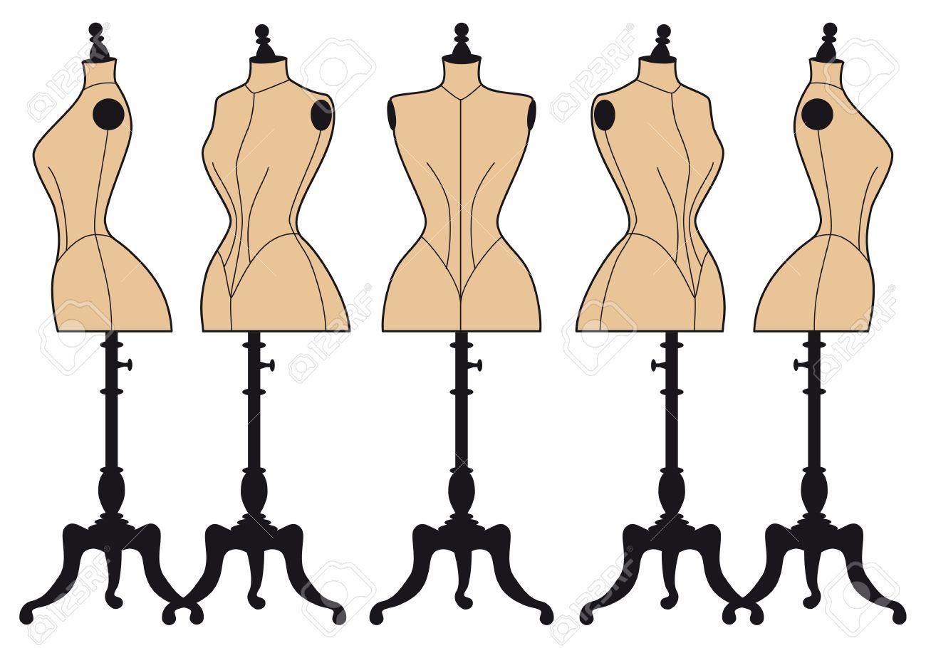set of vintage fashion mannequins, vector design elements Stock Vector - 20246091