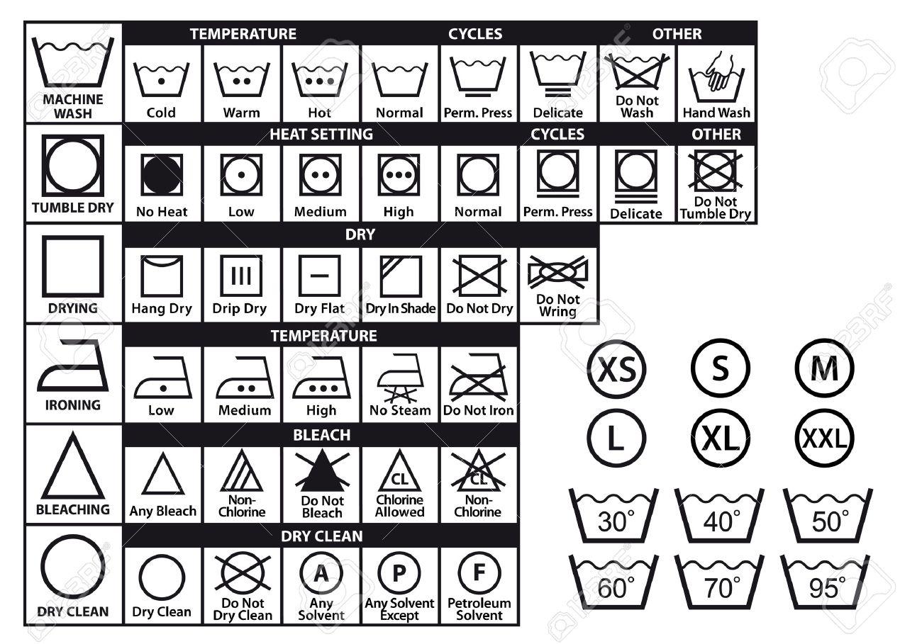 Bien-aimé étiquettes D'entretien Textile Et Des Symboles à Laver Le Linge  LU15
