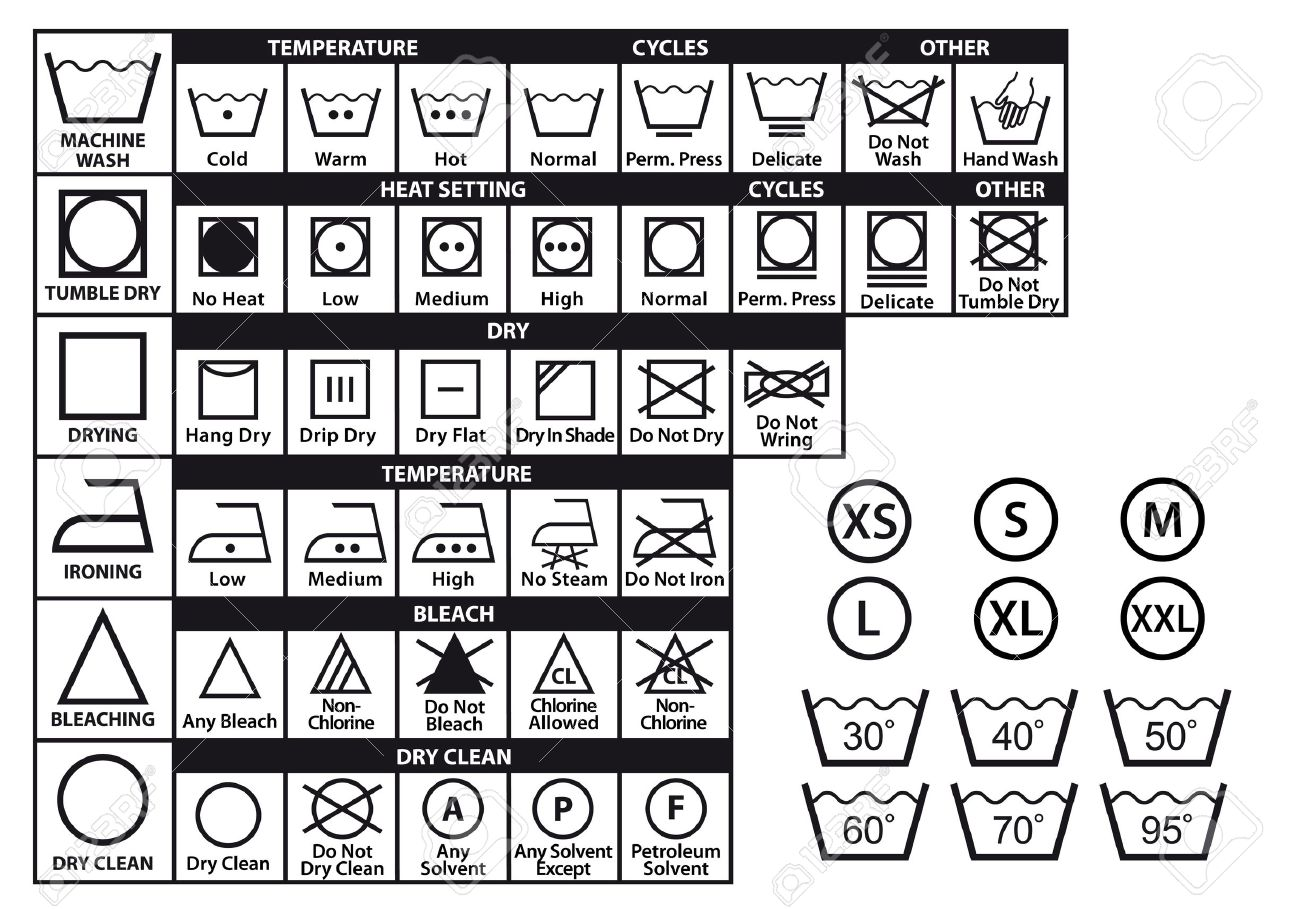 Textile Care Labels And Laundry Washing Symbols Set Stock Vector