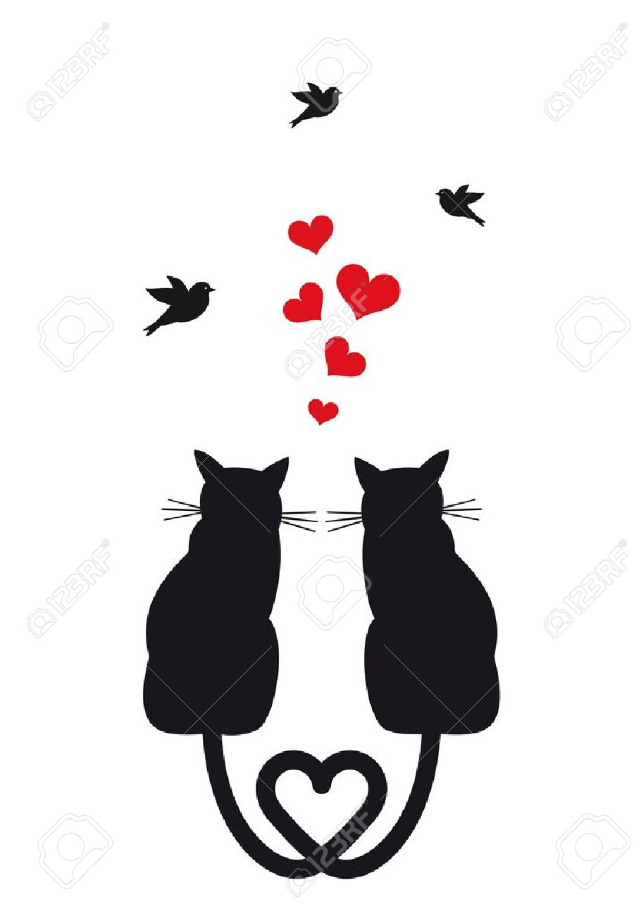 gatos en el amor con corazones rojos y aves ilustración Foto de archivo - 20660159
