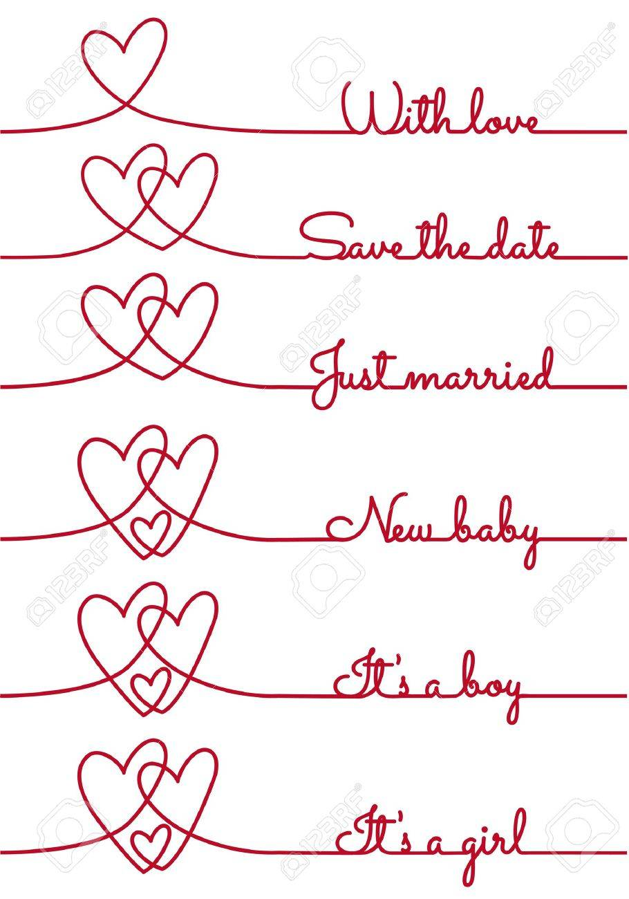 heart line drawing with text for cards, vector design elements Stock Vector - 21947259