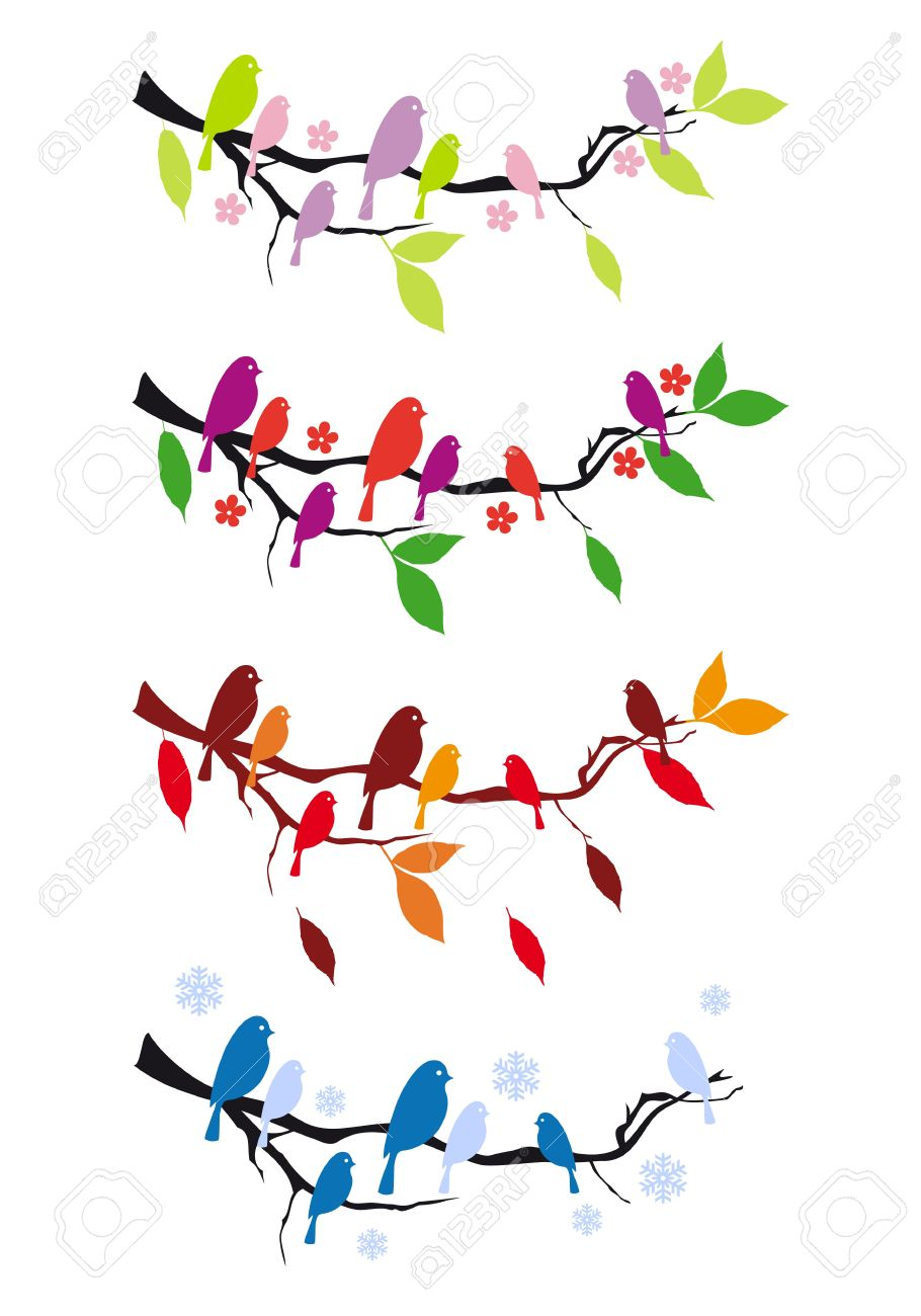 Oiseaux Sur Une Branche D Arbre En Quatre Saisons Elements De