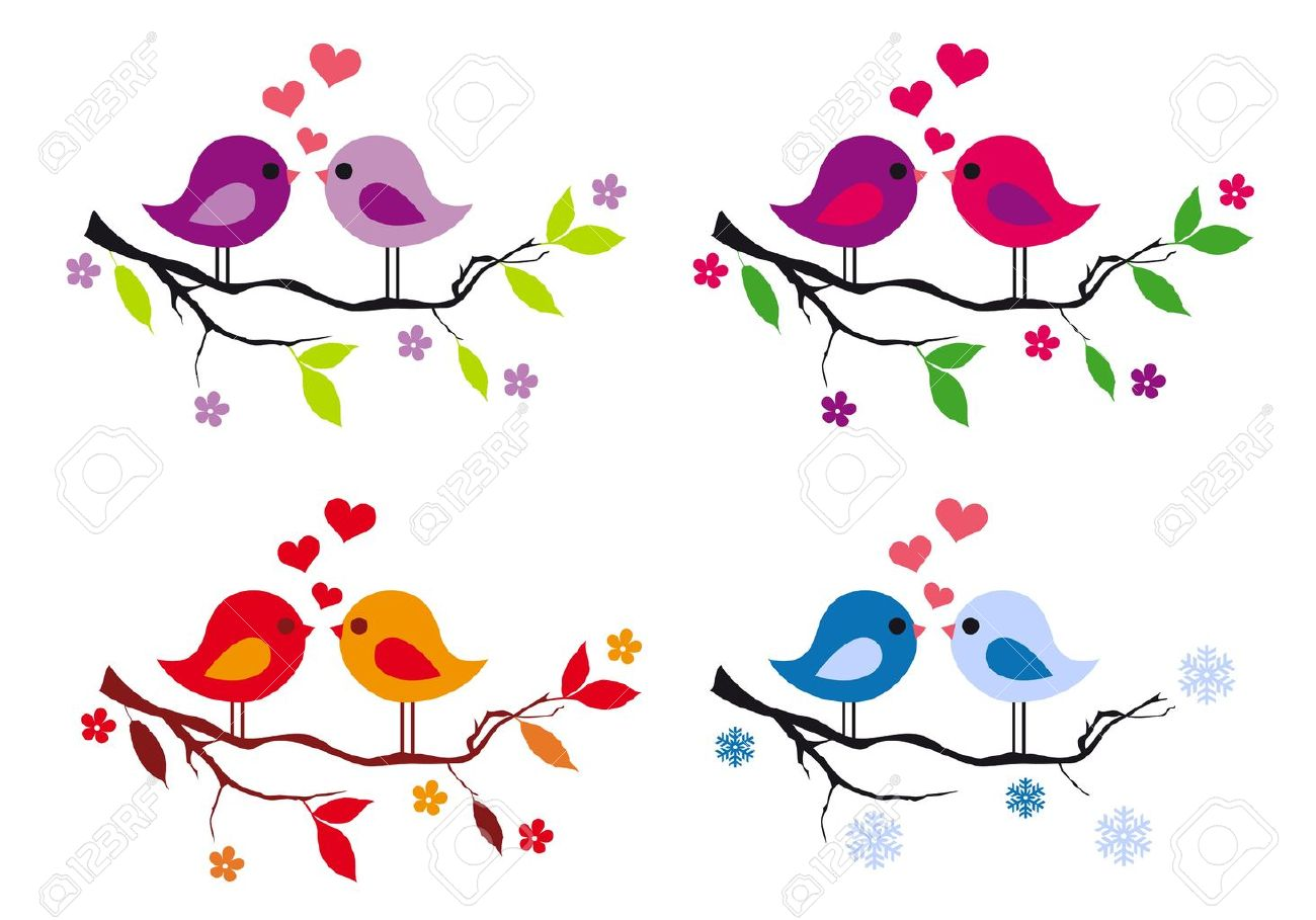 Oiseaux Mignons D Amour Avec Des Coeurs Rouges Sur Une Branche D
