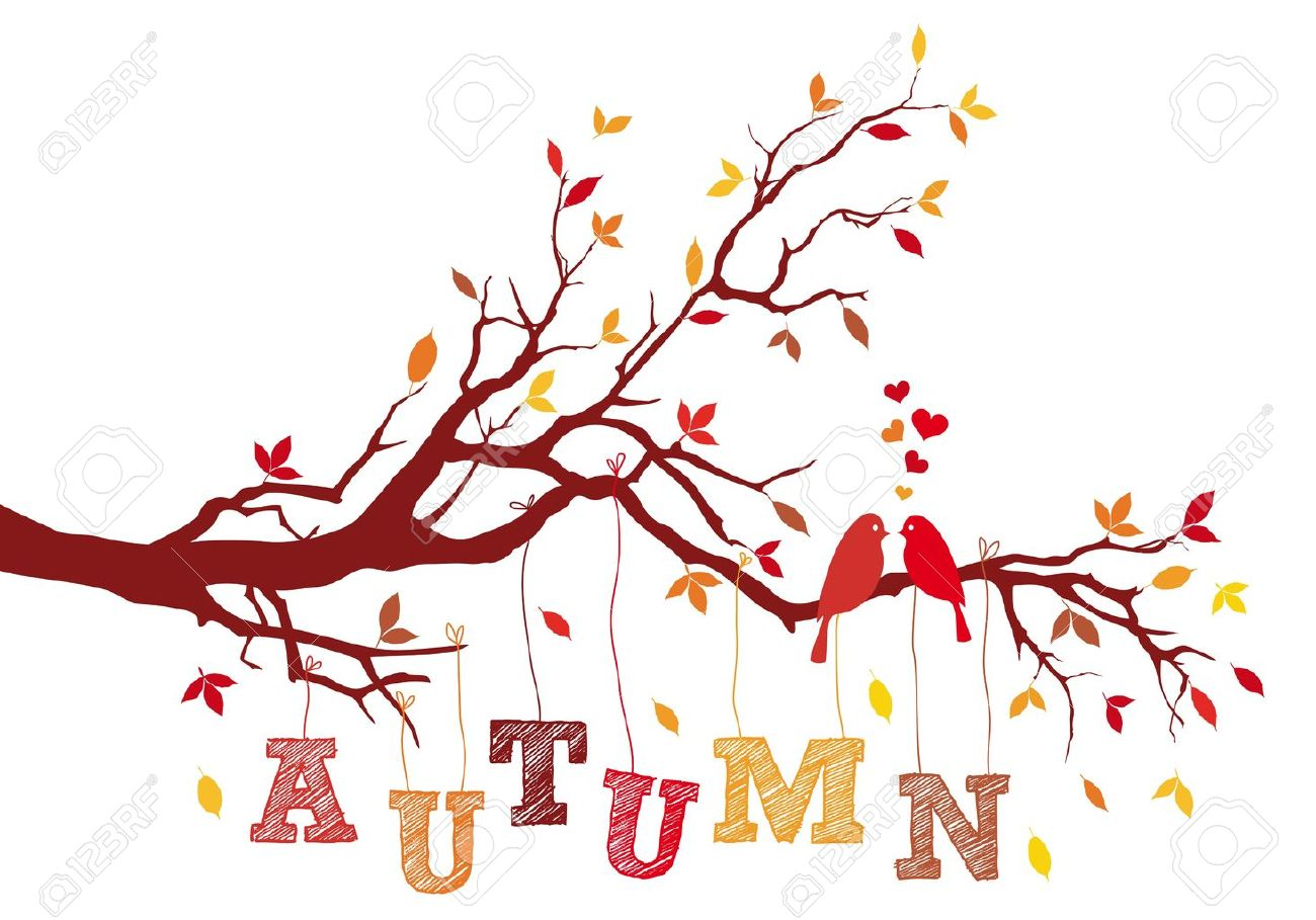 tree branch with leaves vector. birds on autumn tree branch with falling leaves, vector background illustration stock - 21947274 leaves b