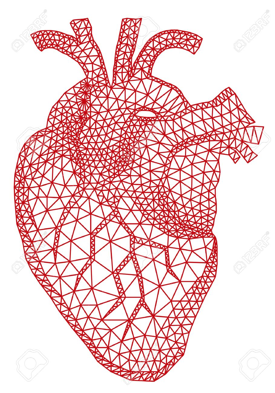Abstract Red Human Heart With Geometric Mesh Pattern Vector