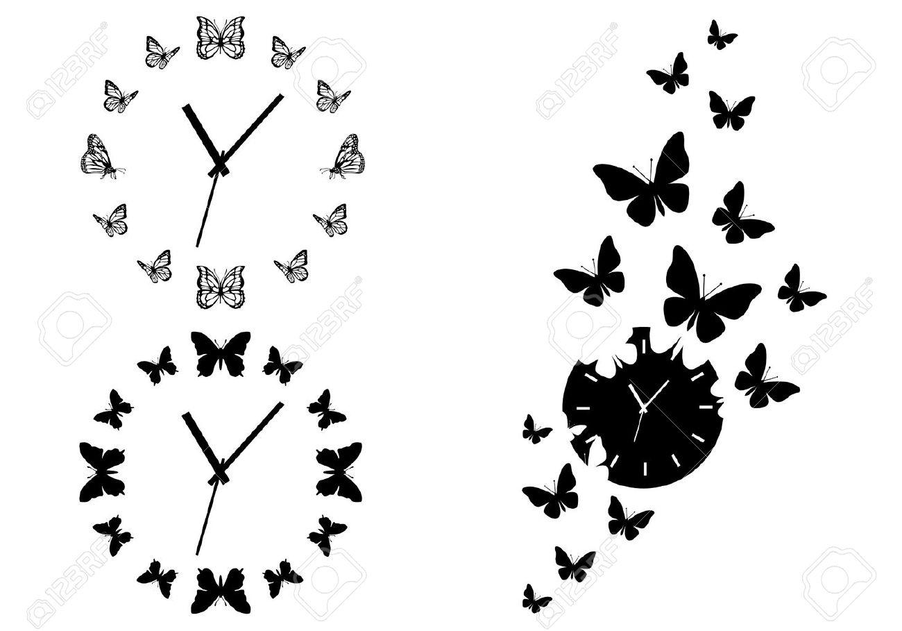 Pasa El Tiempo, Relojes De Mariposa Para El Arte De Pared, Juego De ...