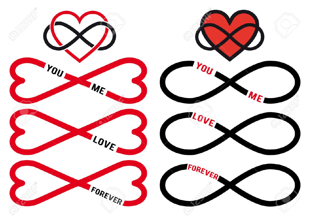 Never Ending Love Red Hearts With Infinity Sign Vector Design