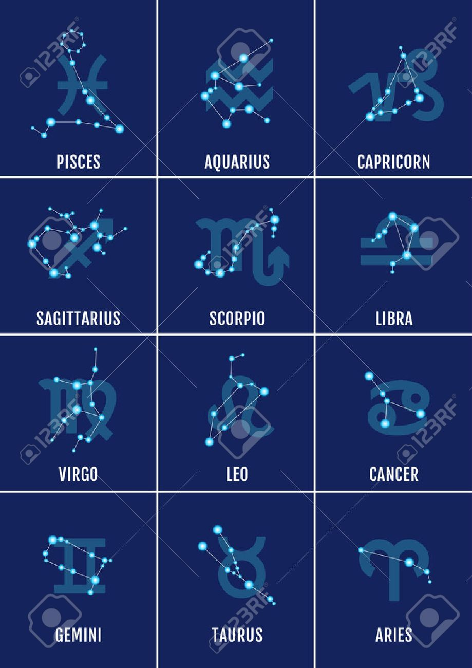 zodiac signs horoscope symbols vector icon set royalty free