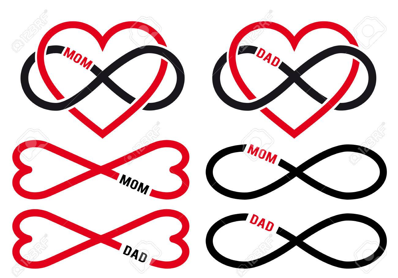 Love mom dad infinity hearts for mothers day fathers day love mom dad infinity hearts for mothers day fathers day cards vector biocorpaavc Gallery