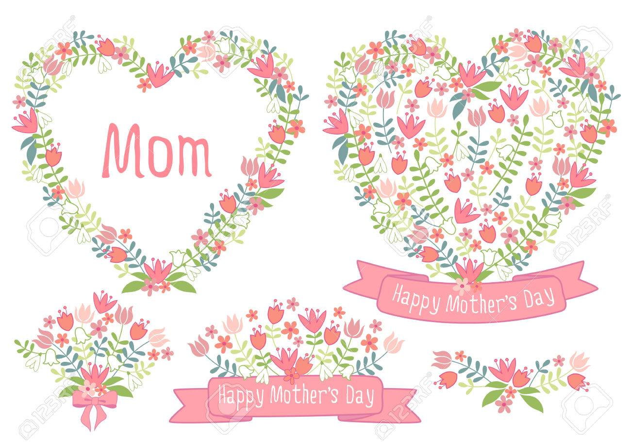 Happy mother's day, floral heart wreath, set of vector design elements for cards - 26619245