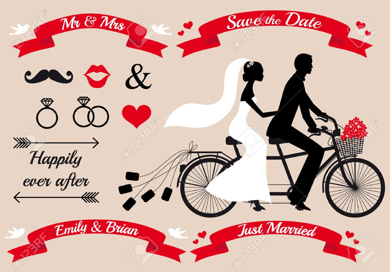 wedding set, bride and groom on tandem bicycle, graphic design elements - 26629098