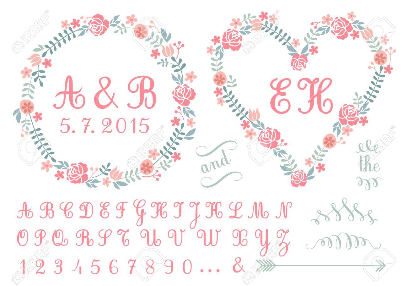 Monogram In Floral Frames, Wedding Invitation, Set Of Vector ...