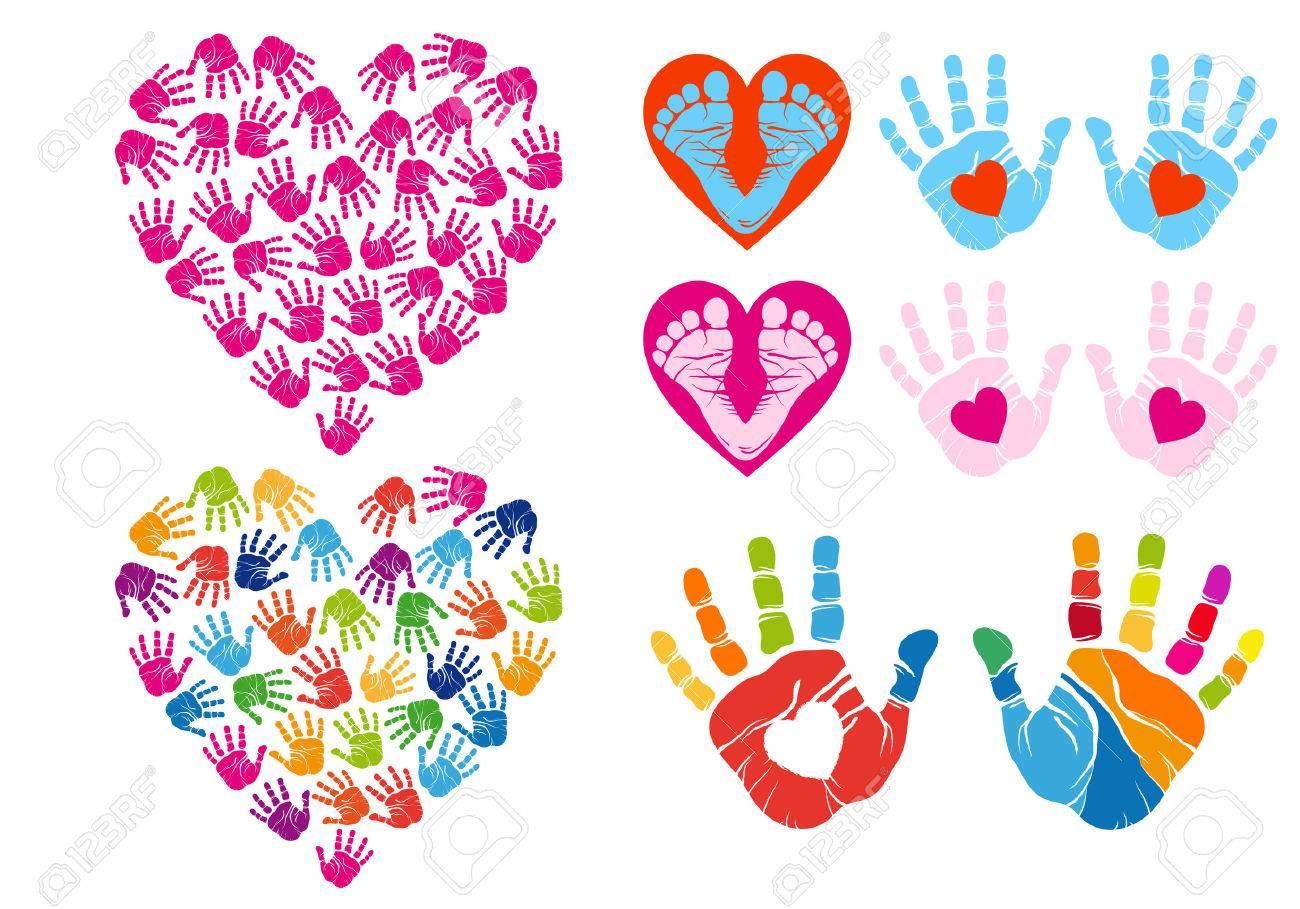 hand print hearts, set of vector design elements - 27438896