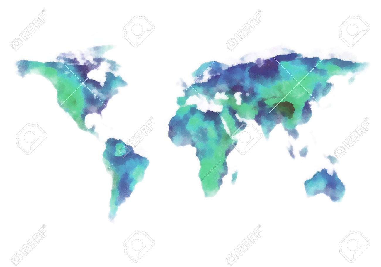 Blue and green earth world map watercolor painting stock photo blue and green earth world map watercolor painting stock photo 28069753 gumiabroncs Choice Image