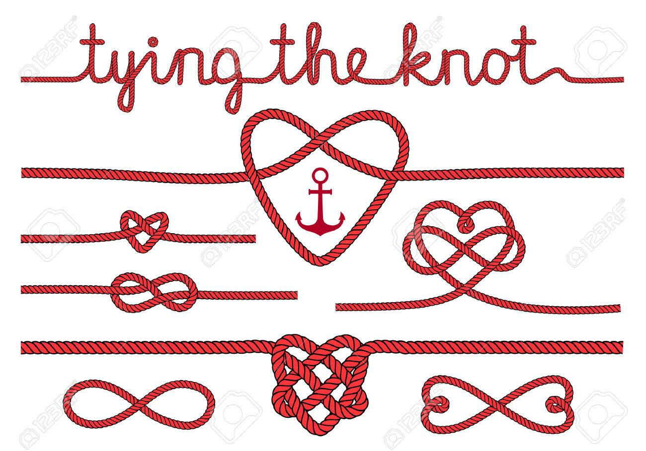 Tying The Knot Rope Hearts For Wedding Invitation Set Of Vector