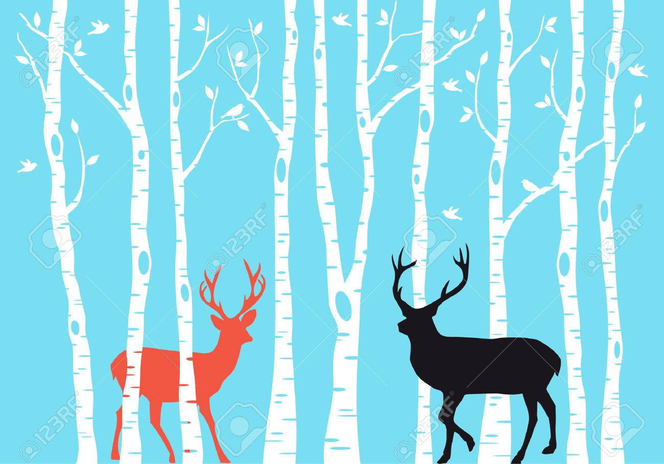 Reindeer with birch tree forest, Christmas card, vector - 33126517