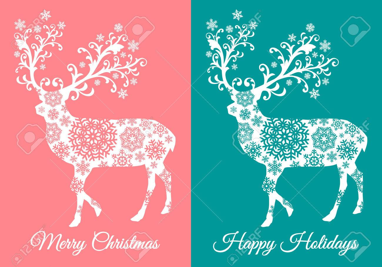 Teal And Coral Christmas Cards With Reindeer Silhouette, Vector ...
