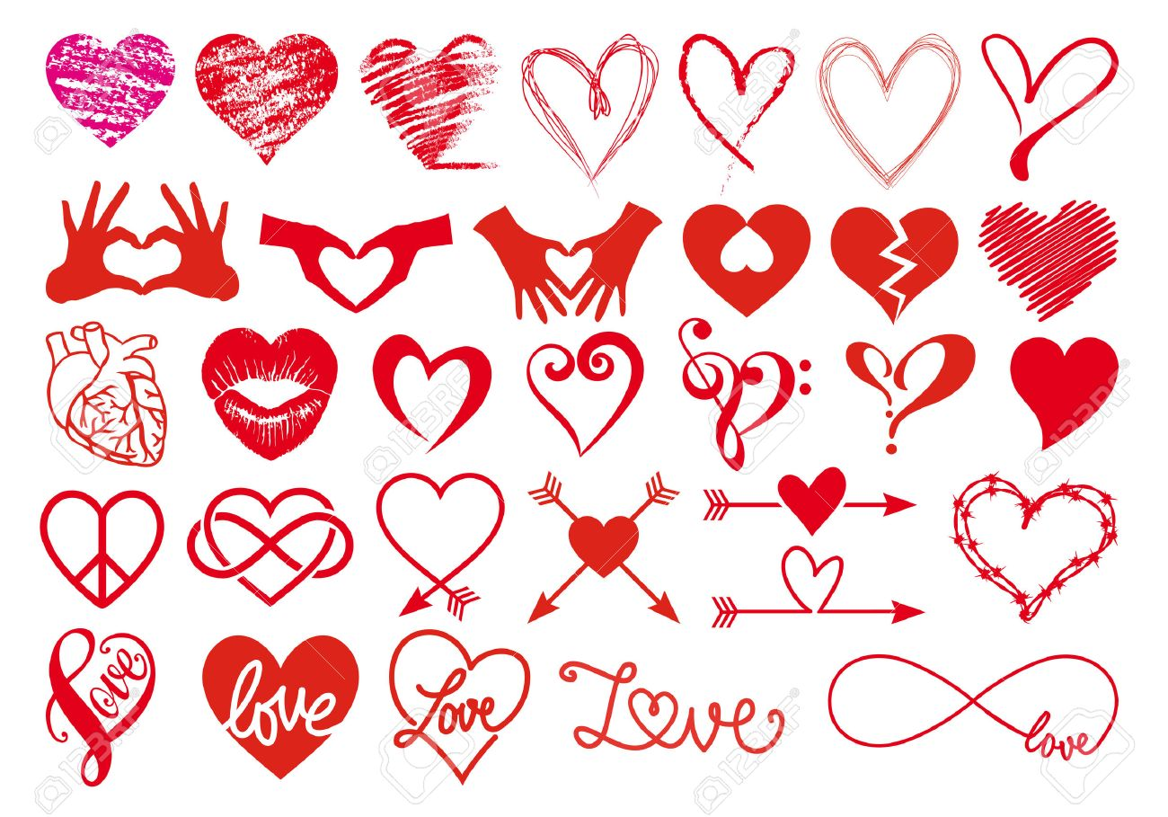 heart love valentines day big set of vector graphic design