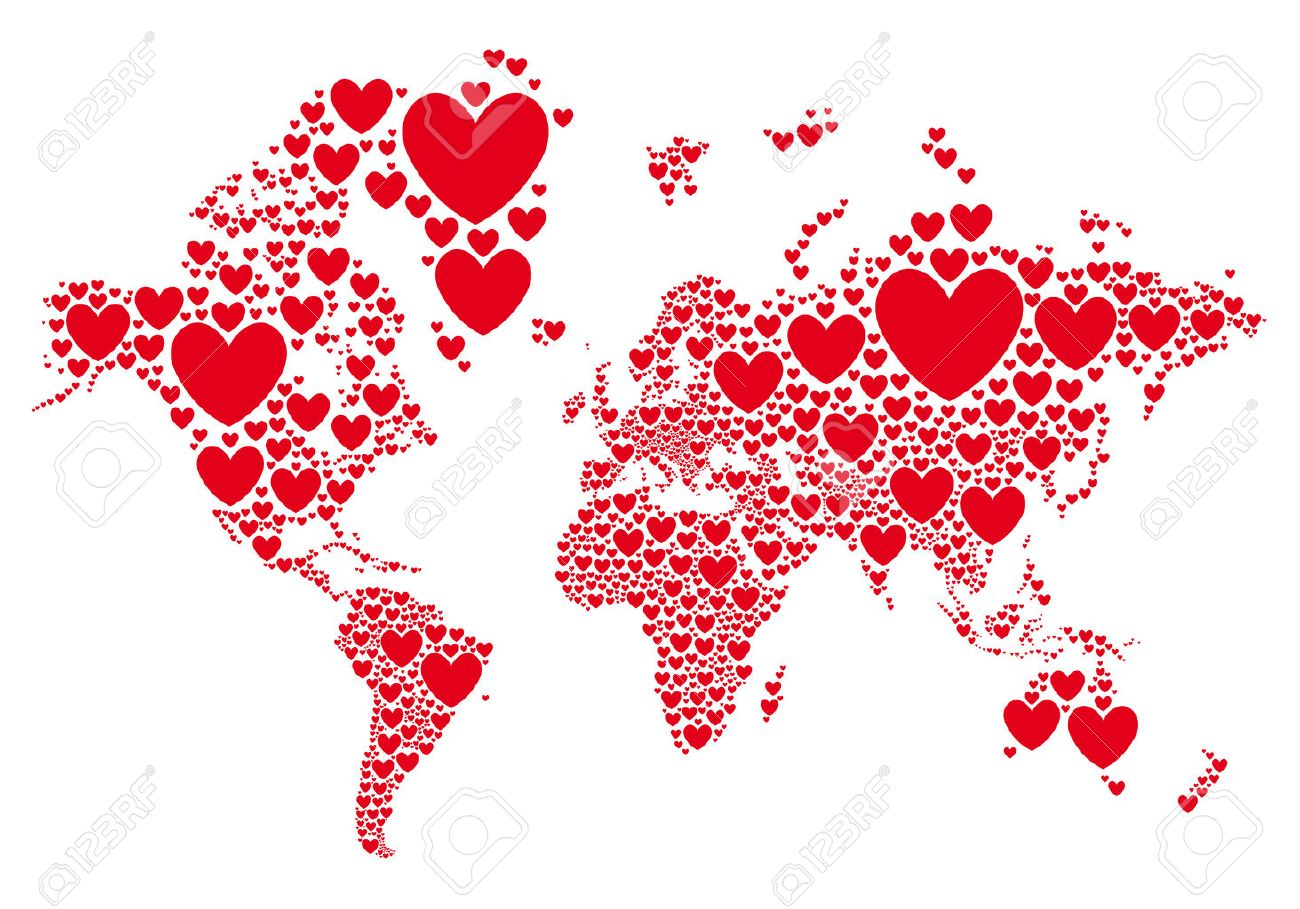 Love world map with red hearts vector background royalty free love world map with red hearts vector background stock vector 36598262 gumiabroncs Image collections