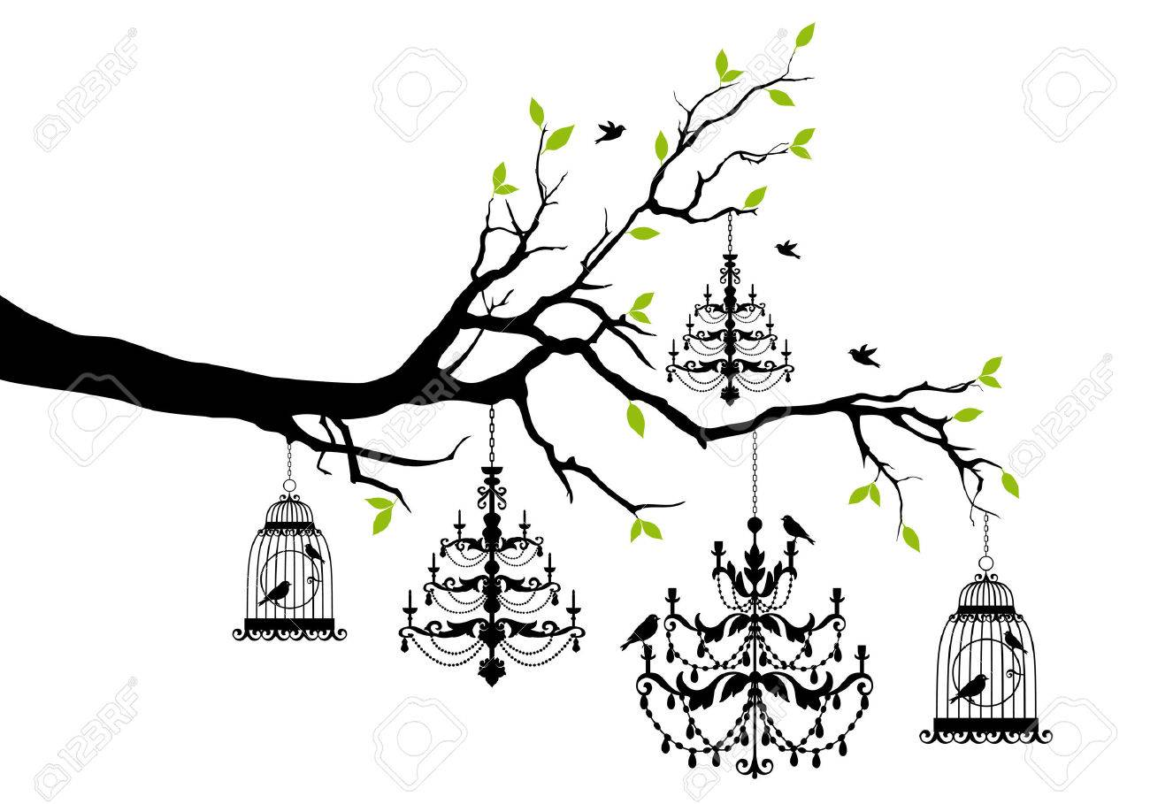 tree branch with chandeliers and birdcages and birds, vector illustration - 37239542