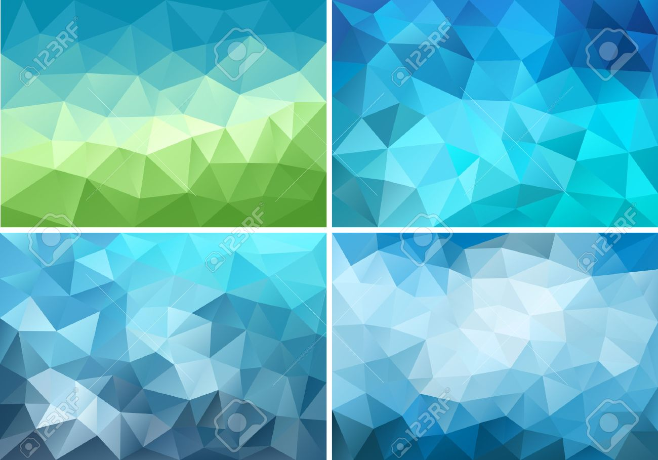 abstract blue and green low poly backgrounds, set of vector design elements - 37677230