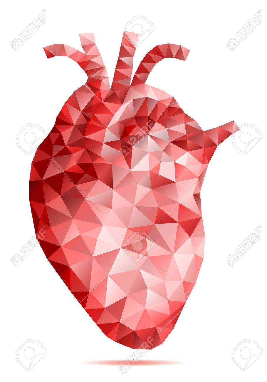 Abstract Low Poly Human Heart With Geometric Pattern Vector