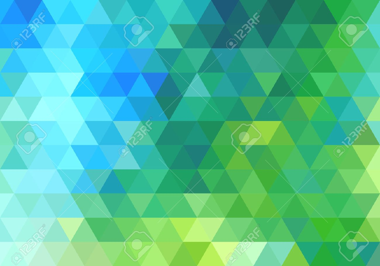 Abstract Green Blue Geometric Vector Background Triangle Pattern
