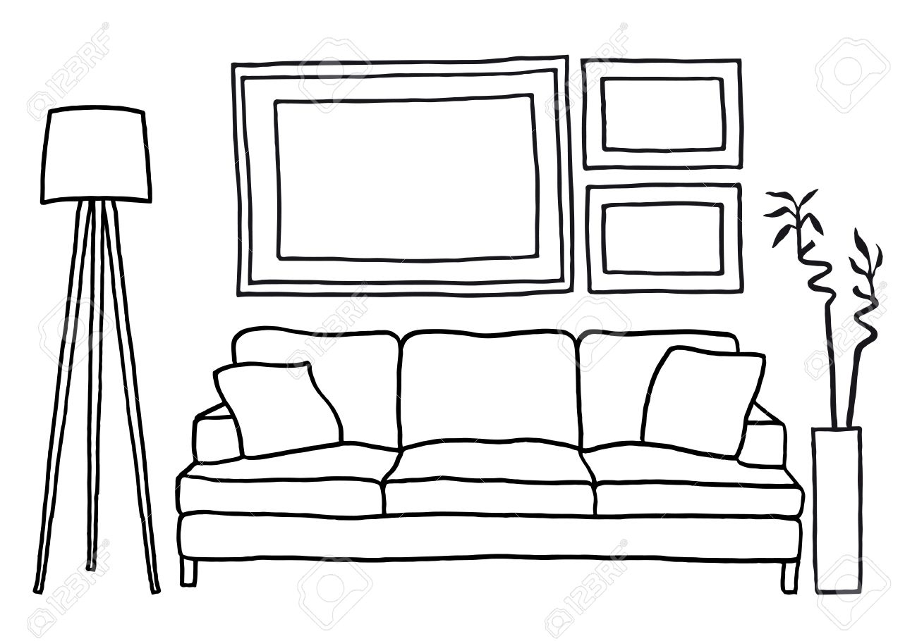 Living Room With Couch And Blank Picture Frames Vector Mockup Illustration Stock