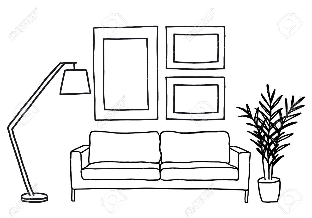 Stehlampe gezeichnet  Sofa Modern Lizenzfreie Vektorgrafiken Kaufen: 123RF