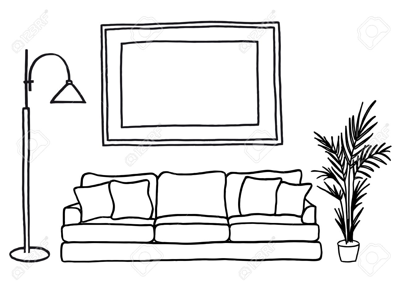 Living room clipart black and white - Living Room Interior With Blank Picture Frame Hand Drawn Mock Up Vector
