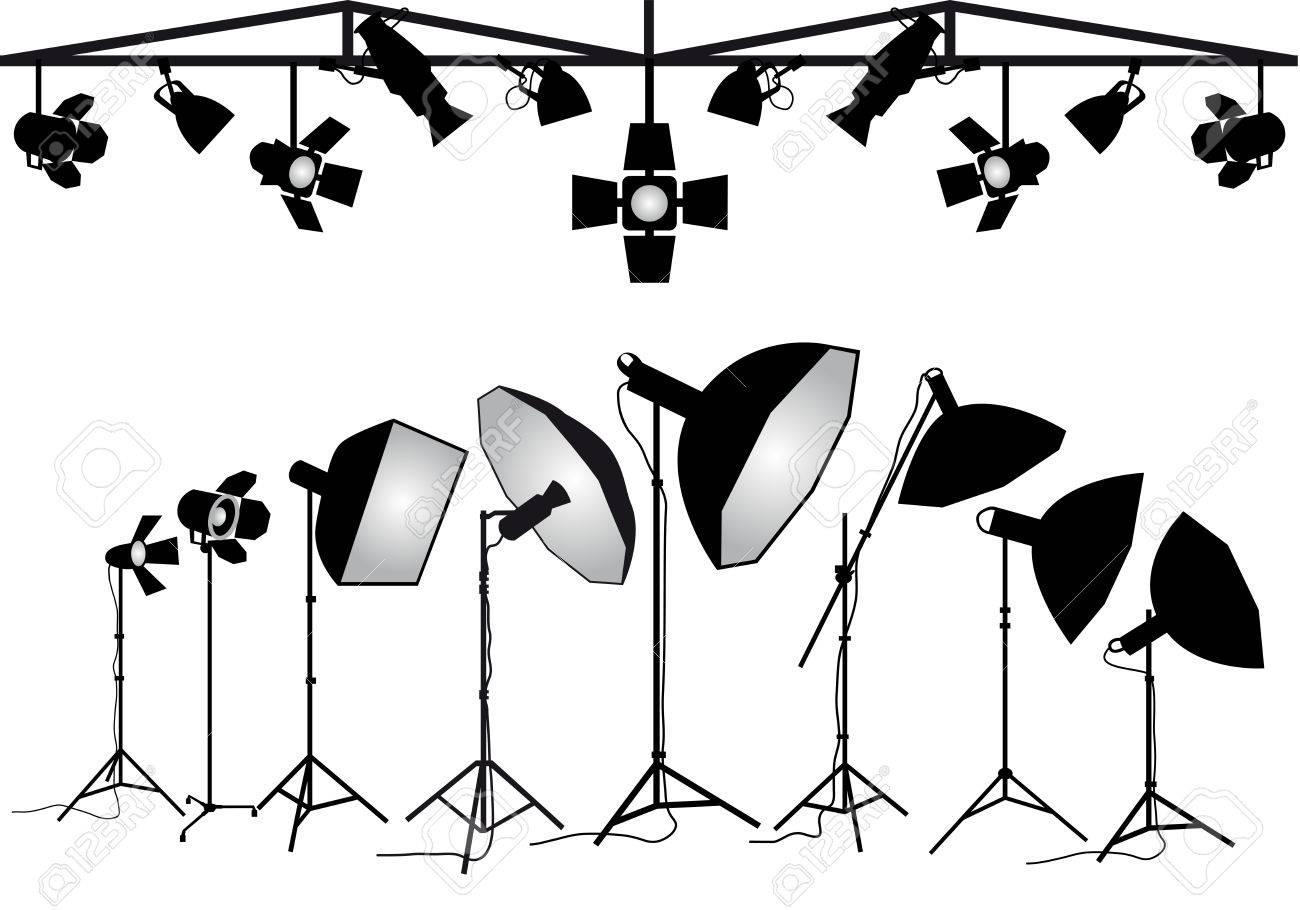 Photo studio lighting equipment, set of vector design elements - 41710669