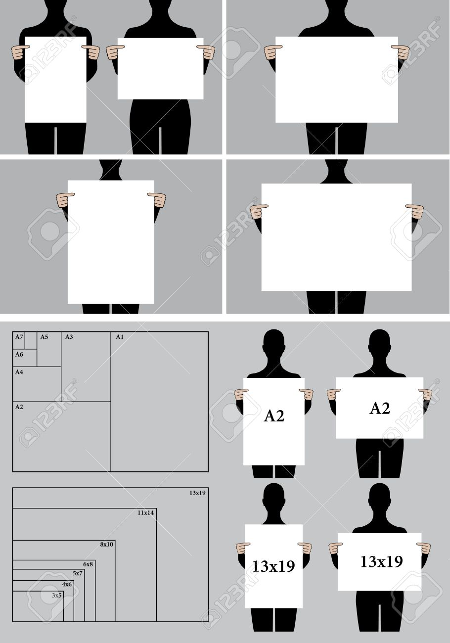 People Holding Poster Mock-up, Blank Picture Templates And Paper ...