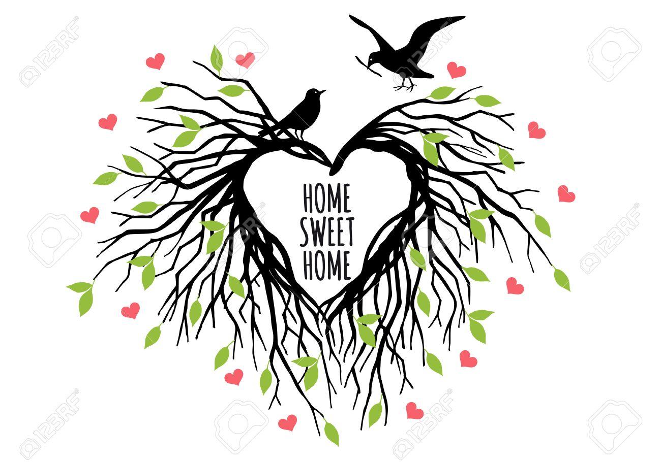heart shaped bird nest, home sweet home, tree of life, vector illustration - 45798228