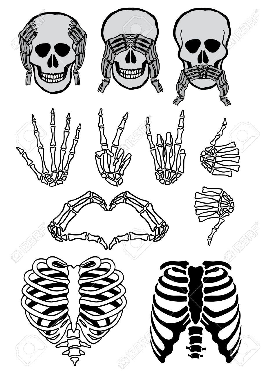 Halloween Skull Set, Three Wise Skulls, See, Hear, Speak No Evil ...