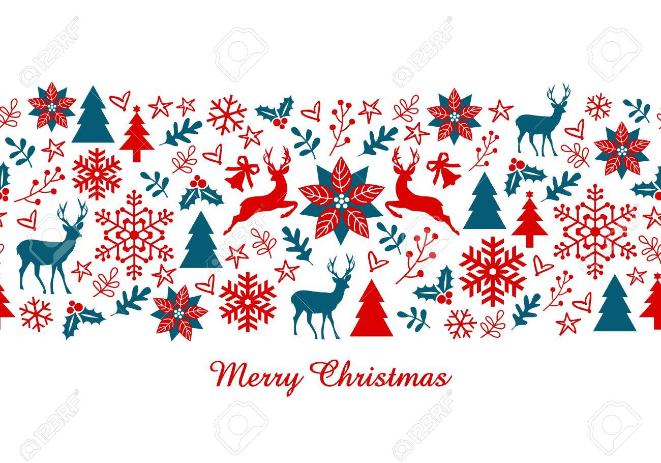 Christmas Card, Xmas Banner With Seamless Pattern, Vector ...